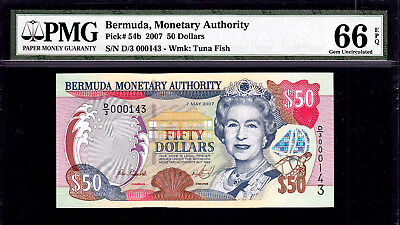 Bermuda 2007 QEII $50 LOW Ser 000143 * I LOVE YOU * Pick-54b GEM UNC PMG 66 EPQ