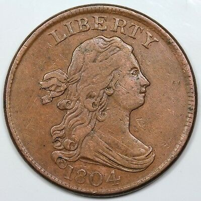 1804 Draped Bust Half Cent, Crosslet 4, Stems, XF detail