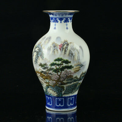 Chinese Porcelain Hand-Painted  Landscap Vase Mark As The Qianlong Period  R1009