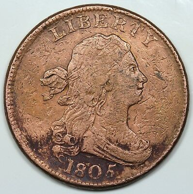 1805 Draped Bust Half Cent, Large 5, Stems, VF detail