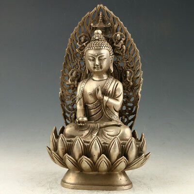 Chinese Collectible Silvering Copper Hand Carved Buddha Statue AAA0144