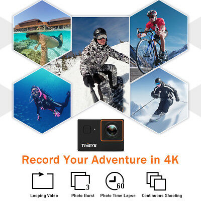 "ThiEYE i30+ 2"" LCD WiFi 4K 12MP Action Sports Camera Camcorder Waterproof A4F6"