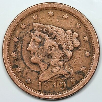 1849 Braided Hair Half Cent, VF detail