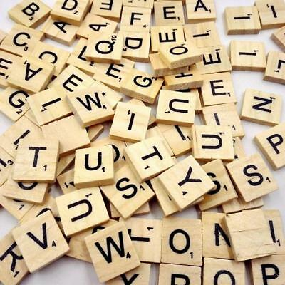 100 Wooden Alphabet Scrabble Tiles Black Letters & Numbers For Crafts Toy WO