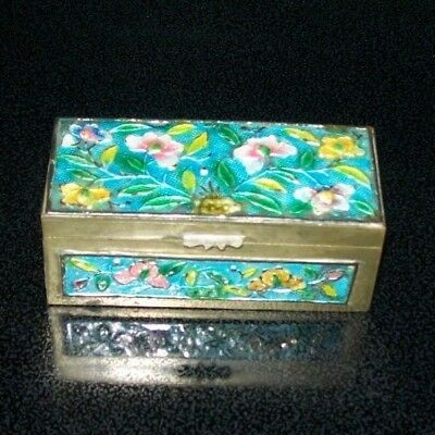 $10 OFF!  Antique Chinese Divided Turquoise Enamel & Brass Floral Stamp Box