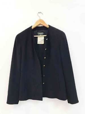 Designer CHANEL Authentic 2 Piece Jacket & Skirt Navy Wool Vintage Suit