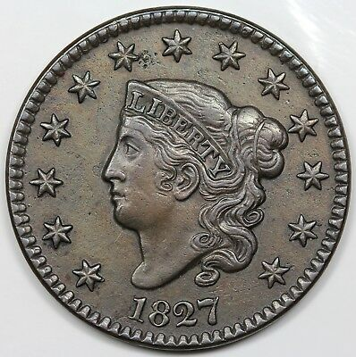 1827 Coronet Head Large Cent, XF detail
