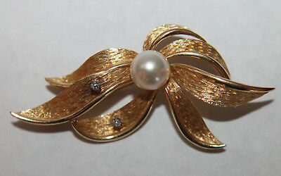 Gorgeous Solid 14K Yellow Gold 8mm Pearl Diamond Brooch Pin Flower Design