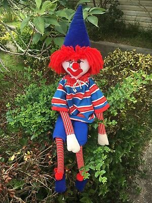 Fabulous Vintage Hand Made Cloth Rag Doll Clown 90cm Long Red Hair Blue Hat