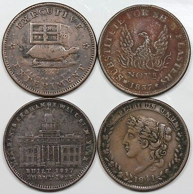 Lot of 4 1830s Hard Times Tokens, lower grades