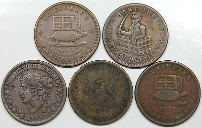 Lot of 5 1830s Hard Times Tokens, lower grades