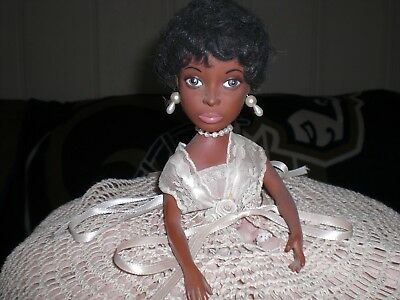 Vintage  African American  Doll with Lace Dress & Crochet  Pillow Cover