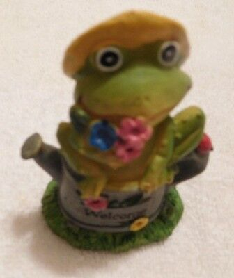 """Mini Garden Frog Figurine-Frog Sits On Watering Can Holding Flowers-4"""" Tall"""