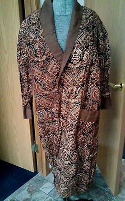 Vintage Hawaii Tiki cotton print robe wrap jacket coat unisex size M