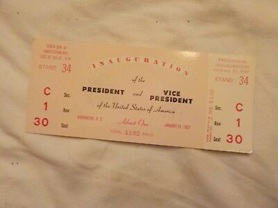 Inauguration Ticket  January 21,1957  Eisenhower Nixon