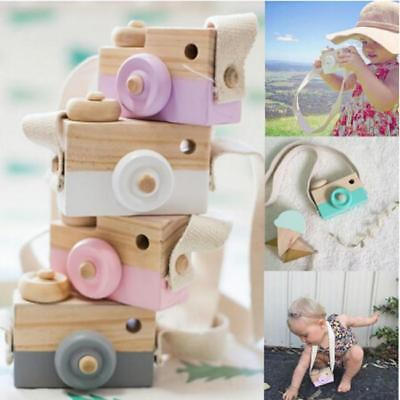 Kids Wooden Camera Toy Decor Children Room Wood Safe Baby Christmas Gift WO