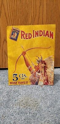 Antique Vintage Red Indian 5 Cent Tobacco Sign Store Display Chewing Cut Plug