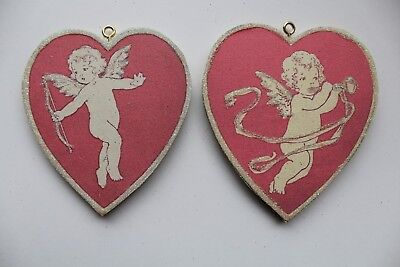 Pair of Cupid & Hearts * Valentine Ornament * Vtg Card Image * Glitter
