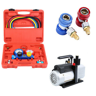 Combo 5CFM 1/3HP Air Vacuum Pump HVAC + AC Refrigeration Kit A/C Manifold Gauge