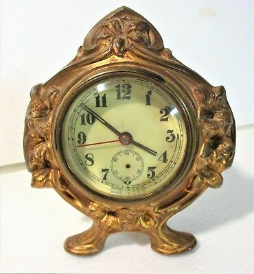 Circa 1900 Usa Art Nouveau Small Gilded Metal Table Clock Curvilinear Floral