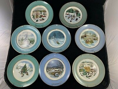 Lot of 8 VTG Avon Christmas Plate Collectors Series w/plate hangers '73 - '80