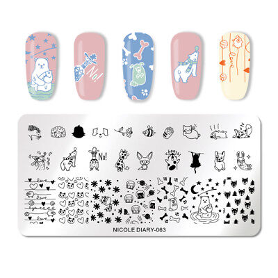 NICOLE DIARY Nail Stamping Plates Animals Pattern Nail Stamp Image Stencils 063