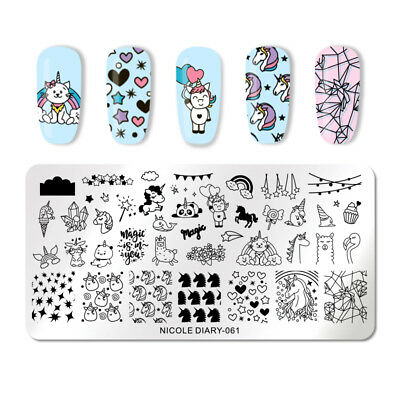 NICOLE DIARY Nail Stamping Plates Animal Cat Nail Art Stamp Image Template 061