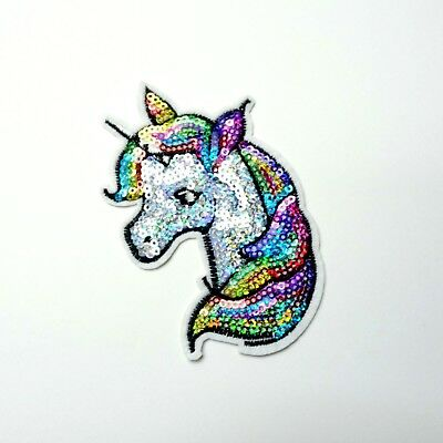 Colorful Sequin Unicorn Patch, Embroidered Iron-On/Sew-On Applique, Girls Cute