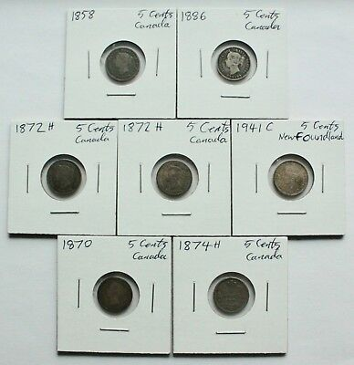 CANADA Old Silver 5 Cents Lot