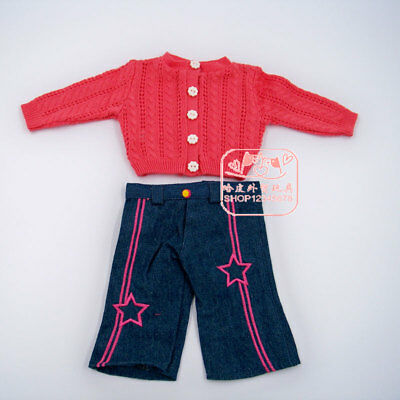 American Girl set of A Dark pink cardigan sweater + pants 18'' doll accessories