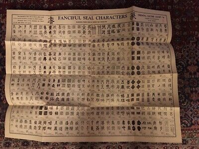 Oriental Culture Chart Fanciful Seal Characters W.M. Hawley #16 27 X 35 1946