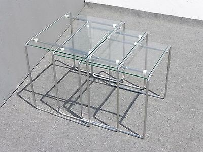 Three Vintage Contemporary Style Chrome & Glass Top Nesting Tables