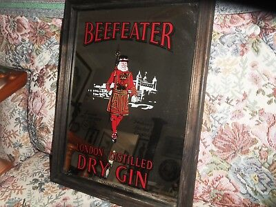 Beefeater Gin Bar Mirror Sign with Wood Frame