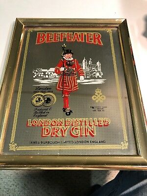 "Vintage Beefeater London Distilled Dry Gin Framed Ad Mirror Sign 8"" X 10"""
