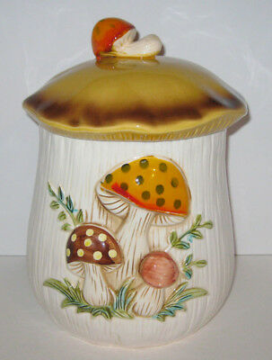 "Sears Roebuck Merry Mushroom 7.5"" Large Ceramic Flour Canister Cookie Jar 1977"