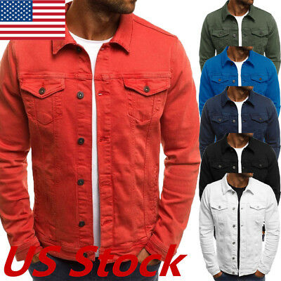 US New Mens Slim Fit Jean-Jacket Classic Western Style Trucker Solid Jacket Coat