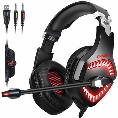 ONIKUMA K6 Gaming Headset Stereo Red LED Surround MIC for PC Laptop PS4 Xbox One