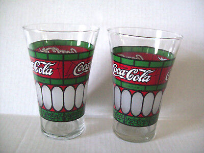 Coca Cola tumblers Tiffany Stained Glass Style Flared 2 glasses