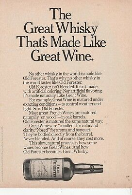 """Old Forester """"The Great Whisky That's Made Like Great Wine"""" Original Print AD"""
