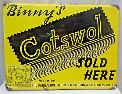 Vintage Enamel Porcelain Sign Binny'S Brand Cotswol Sold Here Rare Collectibles*