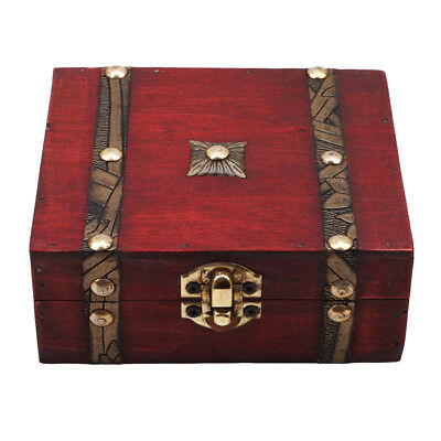 Vintage Double Belt Wooden Ring Necklace Jewelry Box Organizer Storage Case WO