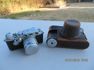 Vintage LEICA D.R.P Camera No. 634361w/ Summitar f=5cm 1:1.5 lens w/Leather Case