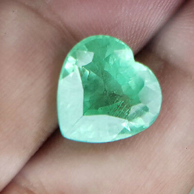 9.22 Cts 12Mm Vs-Si Heart Light Green Natural Emerald Loose Gemstone
