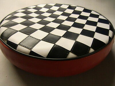 Black & White Check/Red Boarder Scooter Wheel Cover