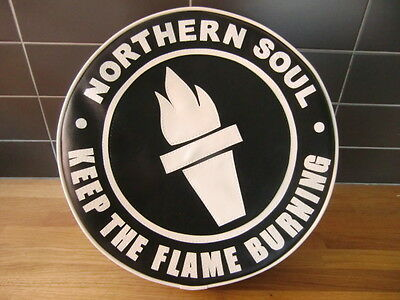 Black/White Keep the Flame Burning Northern Soul Scooter Wheel Cover