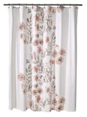 Target Threshold White Shower Curtain 72x72 Kahki W Coral Blooms Floral Flower