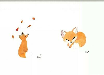 Cute Foxes Watercolour Painting Original Signed Fox