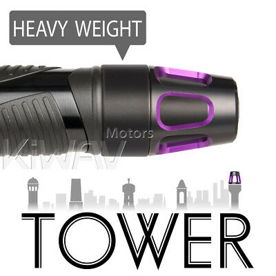 Magazi pair purple Tower aluminum bar end weight w/ black base for KYMCO