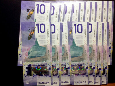 19 pcs Canada 2018 New $10 Vertical  Bank Notes in sequence UNC