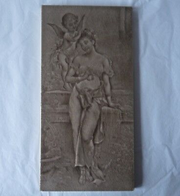 "Tile by Craven Dunnill & Co Jackfield - Maiden & Cherub Emaux Ombrants 12"" x 6"""